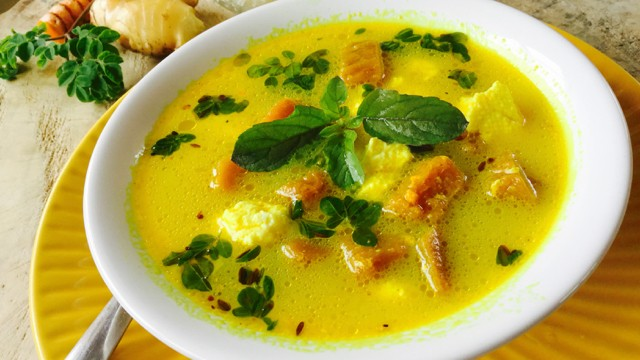 Curds and Whey Soup with Pumpkin and Drumstick leaves
