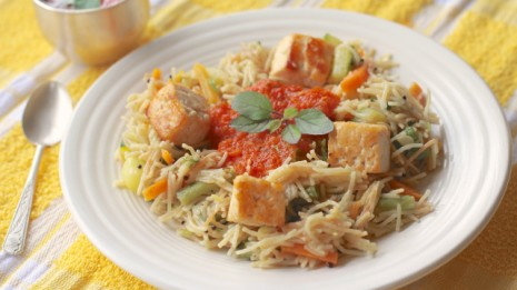 Vegetable Vermicelli Upma with Grilled Paneer and Warm Tomato Ghee Sauce