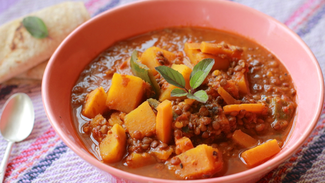 Sweet Potato and Pasilla Chile Dal