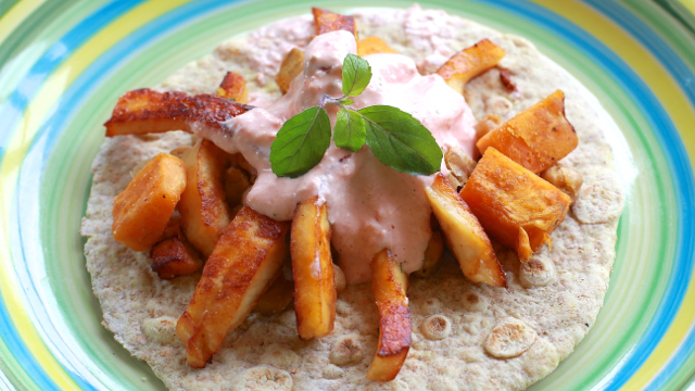 Grilled Paneer Strips with baked Yams and Chickpeas