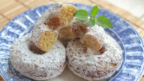 Fluffy Baked Powdered Sugar Donuts