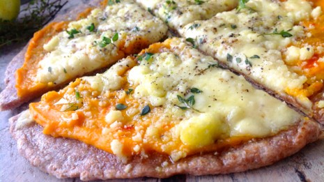 Gourmet Pizza with a Creamed Sweet Potato and Carrot Sauce