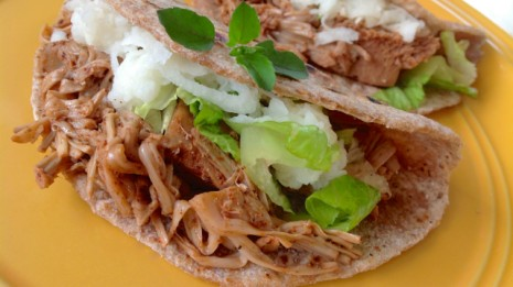 Jackfruit Soft Tacos topped with Shredded Sweet and Sour Jicama