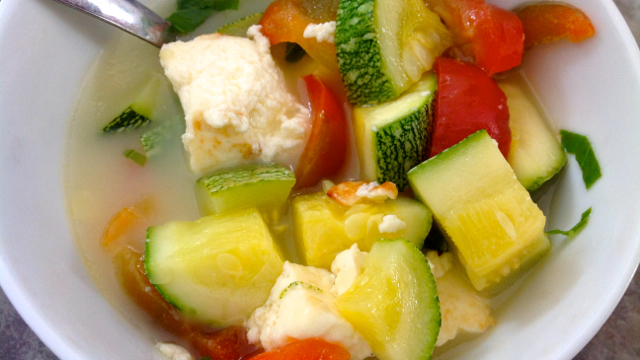 Sweet and Sour Paneer Vegetable Soup
