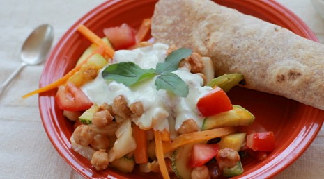 Tropical Chickpea Fajitas with Zesty Yogurt Dipping Sauce