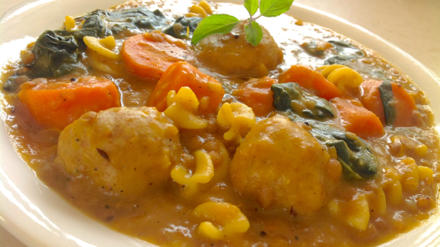 Chunky Vegetable Dahl Stew with Whole Wheat Dumplings