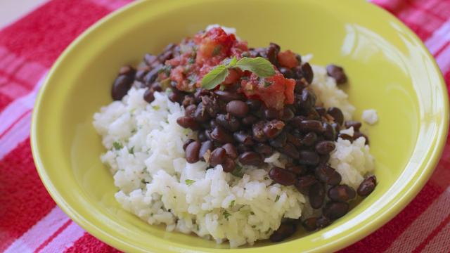 Mexican Cilantro Lime Rice Bowl with Spiced Black Beans and Salsa
