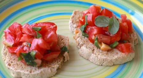 Bruschetta on Homemade Toasted Bread