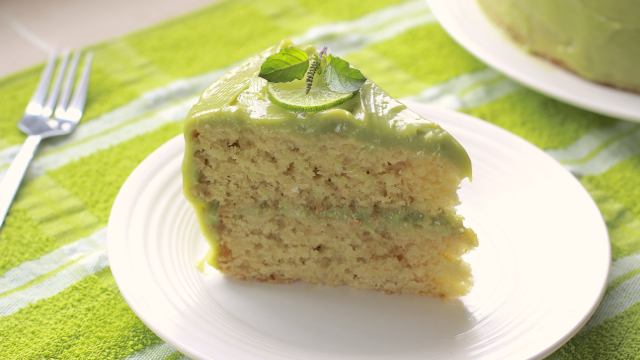 Lime Cake with Creamy Sweet Avocado Frosting