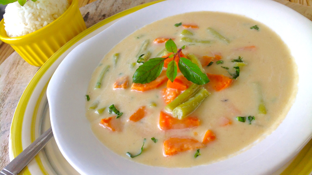Steamed Vegetables in a Coconut milk and Chickpea broth